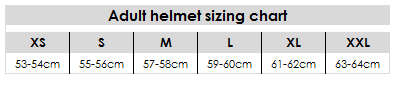 Adult helmet sizing chart