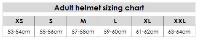 Adult helmet sizing chart