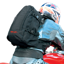 Black Motorcycle Rucksack In Use