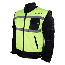 Hi-Vis Reflective Gilet side view over motorcycle jacket