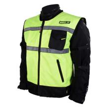 Hi-Vis Reflective Gilet side view over motorcycle jacket