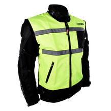 Hi-Vis Reflective Gilet front view over motorcycle jacket