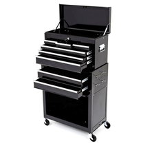 Rolling Tool Cabinet With Top Chest - Black
