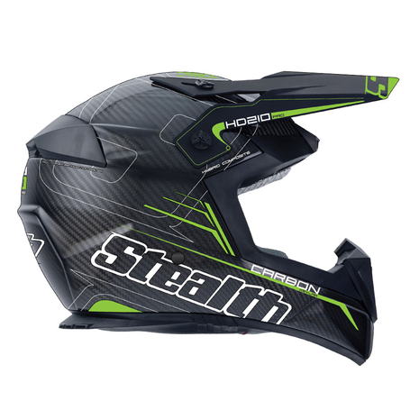 Stealth Pro Carbon Kevlar MX Helmet HD210 - Green