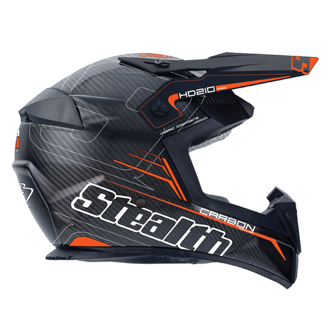 Stealth Pro Carbon Kevlar MX Helmet HD210 - Fast Orange