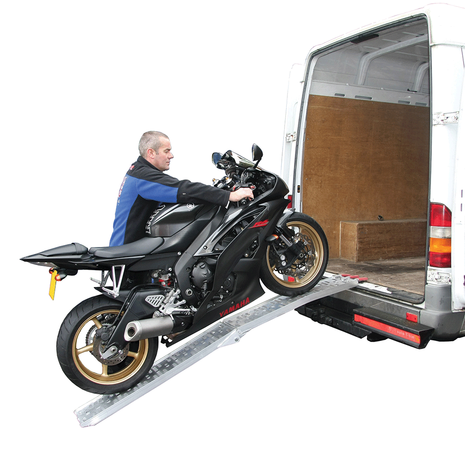Aluminium folding loading ramp with bike