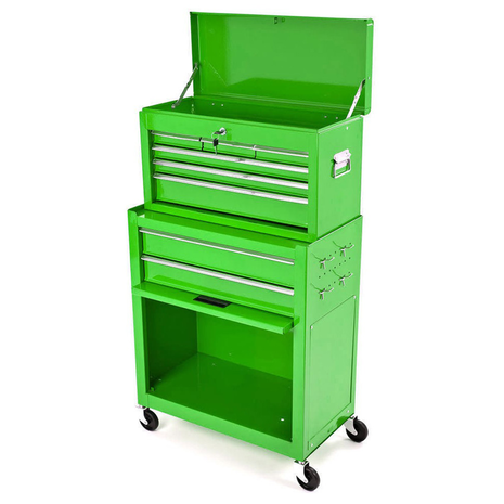 Rolling Tool Cabinet With Top Chest - Green