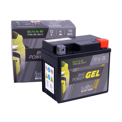 intAct YTX5L-BS Bike-Power Gel Battery and Box